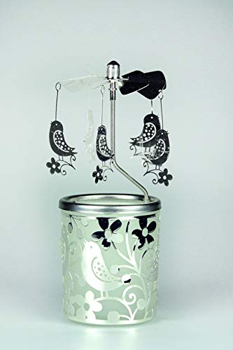 Kerzenfarm Hahn Glaskarussell Teelichthalter Windlicht 84362 Motiv Vogel Größe 16 x 6 x 6 cm Glaskarussel, Glas, Silber, 6 cm