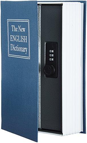 Amazon Basics - Cassetta portavalori a forma di libro, Serratura con combinazione, Blu