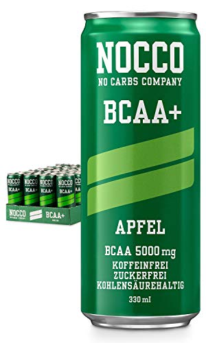NOCCO BCAA+ Apple 24 x 330 ml including deposit protein-rich drink without sugar No Carbs Company carbonated sports drinks for muscle performance and regeneration