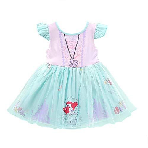 Lito Angels Disfraz de princesa Ariel de sirena para niños, disfraz de Halloween, fiesta de disfraces, falda de tul de 4 a 5 años, color verde 266