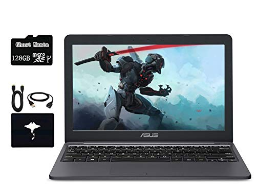 "ASUS VivoBook 11.6"" Thin Lightweight Laptop, Intel Celeron N4000, 4GB RAM, 64GB eMMC, USB C, Up To 10 Hours Battery Life, One Year of Microsoft 365, Windows 10, Gray, W/ GM Accessories +128GB MSD CARD"