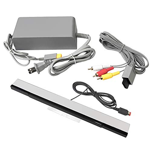 Jadebones AC Power Adapter, Composite AV Cable, and Wired Motion Sensor Bar for Wii U
