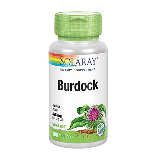 Solaray Burdock Root 425 mg   Healthy Liver, Kidney, Digestion, Circulation, Joint & Skin Support   Antioxidant Activity   Non-GMO   100 VegCaps