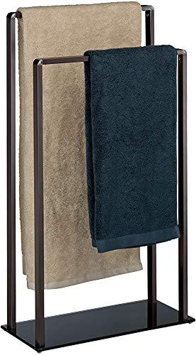 E-starain Frei stehende Metall Kleiderablage Handtuchhalter, HxBxT: 80 x 45 x 20 cm,Black