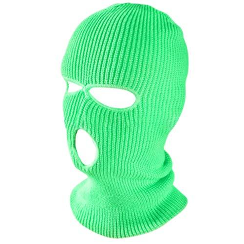 RK-HYTQWR Sombrero de máscara de pasamontañas de neón cálido de Invierno con 3 Orificios de Halloween, Sombrero de Guerrero Fénix Verde Fluorescente, Verde Fluorescente