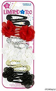 Limited Too Girls Hair Accessories - 12 PC Hair Clip Set - Flower Snap Clip, Glitter Snap Clip