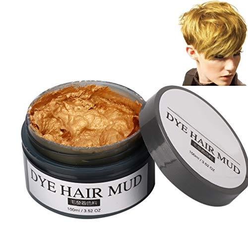 Einweg-Haarfärbemittel Schlamm Modellierung von Haarwachs Haarfärbemittel Creme Home Friseursalon DIY Haarfärbemittel Wachs Färbecreme Styling Tool(Gold)