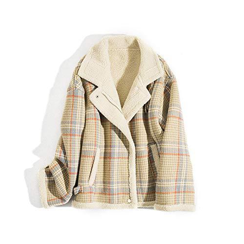 FSDFASS Damen Mantel Mantel Winterjacke Damenmode Weibliche Jacke Kunstlammfell Warmer Parka Kleidung (Damen), kariert, L