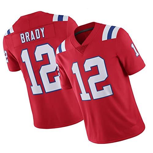 WHUI Brady Rugby Jersey 12#, Ropa Deportiva de Entrenamiento Diario, diseño de Malla, Puede evaporar rápidamente Sudor, tamaño Adulto Red-M