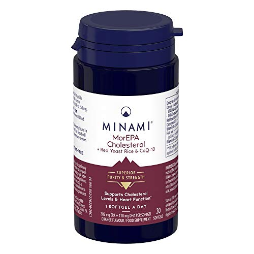 Minami - MorEPA Cholesterol - Omega 3 Fish Oil - High EPA and DHA Formula + Red Yeast Rice and CoQ10 - Maintains Healthy Cholesterol Levels and Blood Pressure - 30 Softgels
