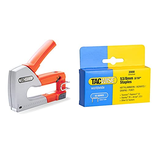 Tacwise 0856 Grapadora Metálica Manual Z1-53, naranja + 0335 Caja 2000 grapas galvanizadas 53/8mm