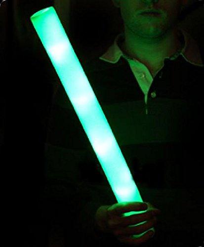 Mondial-fete - 12 Bâtons mousse lumineux vert 48 cm