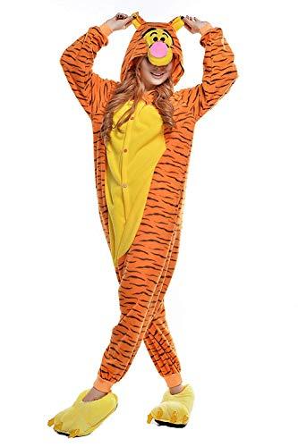 Venaster Cosplay Pyjamas Erwachsene Unisex Animal Cosplay Overall Pajamas Anime Schlafanzug Jumpsuits Spielanzug Kostüme (Small, Tigger)