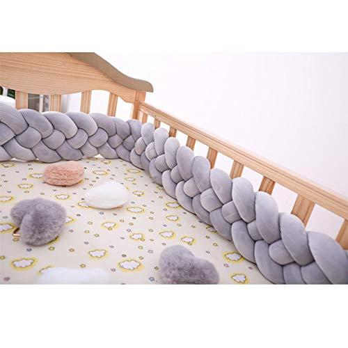 BZCWOOK Trenza Protector de Cuna, ParachoquesCuna del Bebé Cama Nudo Tejido Borde Protector de Cabeza Decoración para Cuna Cuna -Gray-3M