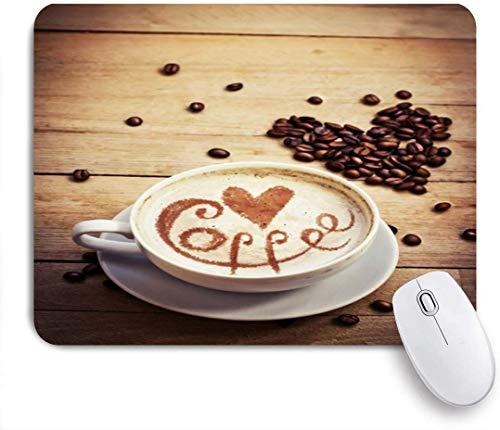 Gaming Mouse Pad rutschfeste Gummibasis, italienische braune Cafe Tasse Kaffee Liebe Herz Zeichnung Latte Closeup Food Drink Frankreich Liebhaber Aroma Cacao, für Computer Laptop Schreibtisch