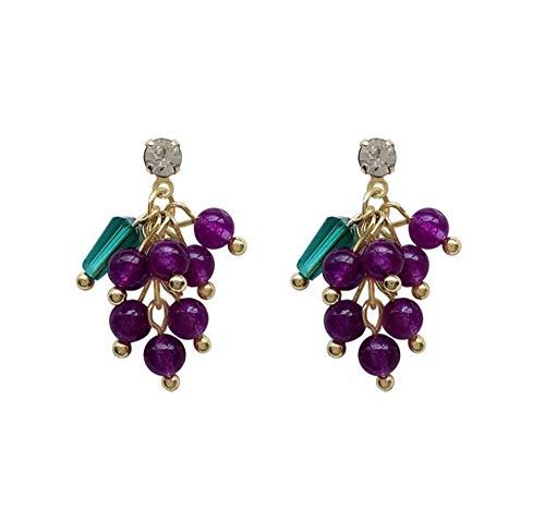 Orecchini pendenti irregolari con strass di perline d'uva viola Orecchini pendenti stile coreano di frutta per le donne Regalo di gioielli dell'orecchio delle ragazze 2 pezzi