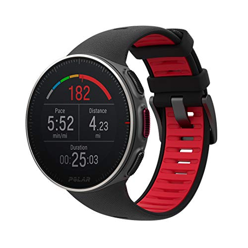 POLAR VANTAGE V – Premium GPS Multisport Watch for Multisport & Triathlon Training (Heart Rate Monitor, Running Power, Waterproof), Titan (Premium Titanium, Lightweight), Black / Red