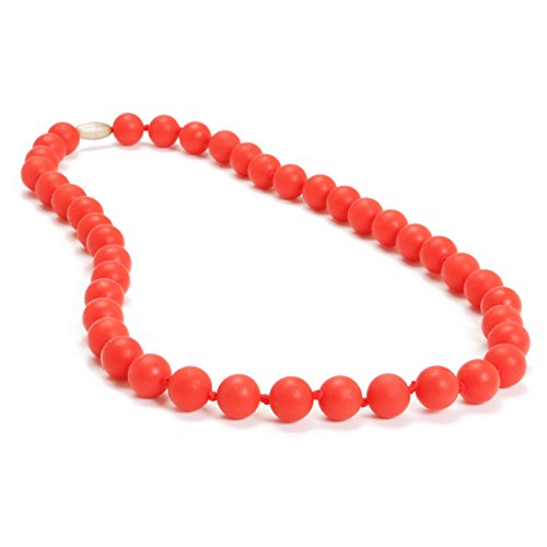 Chewbeads Jane Teething Necklace (Cherry Red) - Original Fashionable Infant Teething Jewelry for Mom. 100% Medical Grade Silicone Safe for Teething Babies and Toddlers. BPA Free