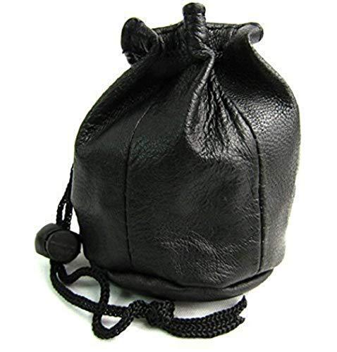Unisex Drawstring Black Leather Pouch