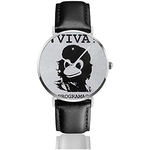 Unisex Business Casual Viva Programmierung Tux Linux Che Guevara Uhren Quarz Leder Uhr