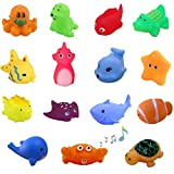 UMBWORLD Preschool Bath Toys Rubber Floating Squeaky Baby Wash Shower Toy for Toddlers Kids Party Decoration15 Pcs (Sea Animal)