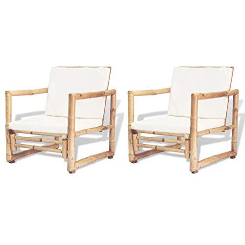 vidaXL 2X Sillas de Jardín Bambú 60x65x72 cm Sillón de Exterior Asiento Patio