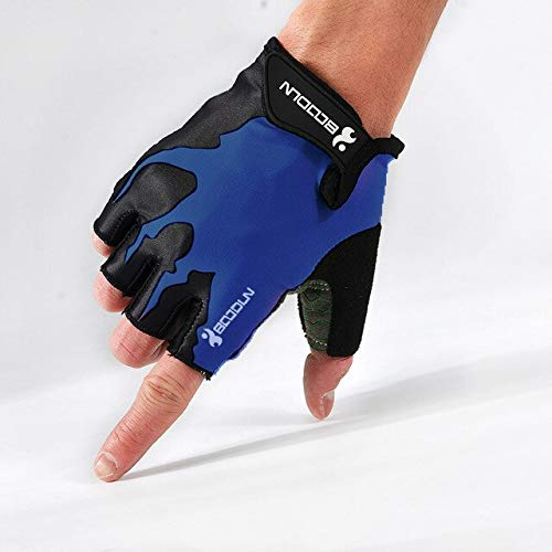 Halbfinger-Fahrradhandschuhe stoßfeste, atmungsaktive Handschuhe Sportkleidung für Herren Bergbekleidung schwarz blau Fahrradhandschuhe - H320 schwarz blau, L.