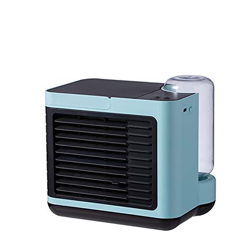 Ventilador de aire acondicionado portátil de iones negativos, con carga USB de bajo ruido, mini enfriador de aire de escritorio, puede humedecer y atomizar para mejorar el azul del aire