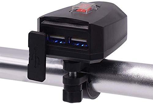 Jankr Cargador de teléfono Celular Impermeable para Motocicleta, Cargador de Bicicleta eléctrico Doble USB con Interruptor Instalación de Manillar de 10V-80V para teléfonos Tabletas GPS