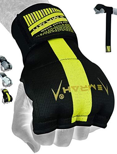 EMRAH E2 Boxhandbandagen | Pro Grip Innenhandschuhe | Knöchelschutz Handgelenkstütze | Kampfsport-Training, Faust Gel Wraps, MMA, Muay Thai, Kickboxen Handschuhe (schwarz, gelb, groß)
