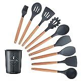 Utensilios para cocinar 9/10 / 12pcs Herramientas Set Premium silicona Cocina Utensilios Set con caja de almacenamiento Turner Pinzas Espátula sopa de cuchara de cocina (Color : Black 10pcs B)