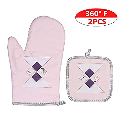 GEHARTY Oven Mitts and Potholders Set with Soft Cotton Lining and Non-Slip Surface, Heat Resistant Kitchen Microwave Gloves for Baking Cooking Grilling BBQ