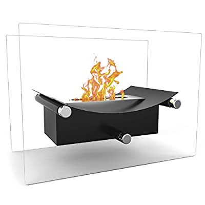 Regal Flame Arkon Ventless Indoor Outdoor Fire Pit Tabletop Portable Fire Bowl Pot Bio Ethanol Fireplace in Black - Realistic Clean Burning like Gel Fireplaces, or Propane Firepits