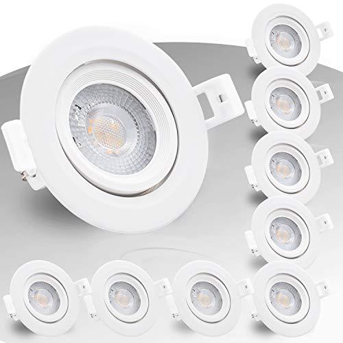 9x Evolution IP44 LED Einbaustrahler 5W 500lm ersetzt 50 Watt Strahler 230V flach Wohn und Badezimmer schwenkbar 2700k Deckenspots Einbauspots Einbau-Strahler Deckeneinbaustrahler Einbauleuchte