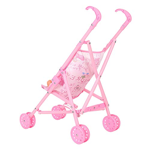 homese Baby Infant Doll Stroller Carriage Foldable with Doll for 12inch Doll Mini Stroller Toys Gift Pink