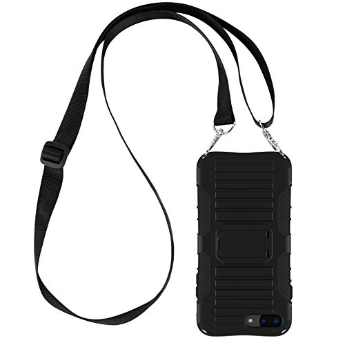 E-Tree Crossbody Lanyard Case for iPhone 7 Plus / 8 Plus 5.5-Inch with Kickstand, Shockproof Dual Layered (Hard PC with Soft TPU), Anti-Lost Detachable Necklace Strap for Kids and Outdoors - Black