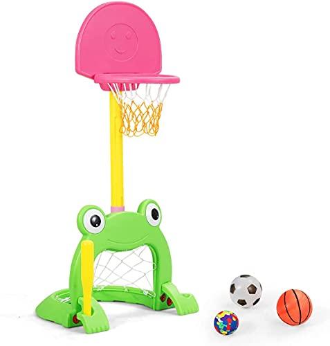 LLDKA Soporte de Baloncesto Multifuncional para niños con Base Rellenar, Centro Deportivo 3 en 1 Ajustable con Cesta de Baloncesto