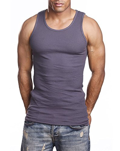 Herren A-Shirt, Muskel-Tanktop, für Fitnessstudio, Training, super dick, 3er-Pack (Medium, Dunkelgrau)
