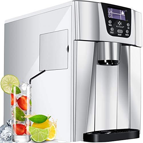 KESSER® Eiswürfelbereiter | Eiswürfelmaschine Edelstahl | 100W Ice Maker | 12 kg 24 h | 2 Würfelgrößen | Zubereitung in 6 min | 2 Liter Wassertank | Timer | LCD-Display Wassertank Silber