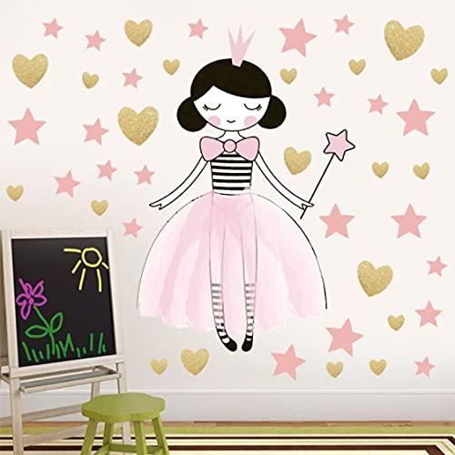 Papel pintado del dormitorio de los niños Pegatinas de pared del dormitorio de la muchacha de la princesa Pegatinas interiores de los ángeles de dibujos animados encantadores