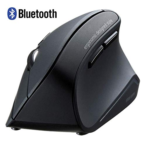 SANWA Bluetooth Vertical Ergonomic Mouse, Blue LED Optical Computer Mice, (800/1200/1600 DPI, 6 Buttons) Compatible with MacBook, Laptop, Windows Android Support iOS13 for Office Gaming