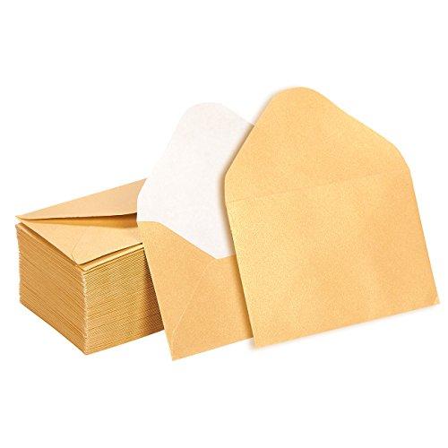 Mini-Briefumschläge von Juvale (100 Stück) – Gold mit Spitzer Klappe - Ideal für Geldgeschenke, Geschenkkarten/Gift Card, Visitenkarten, Dankeskarten – 10,2 cm x 6,9cm