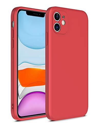 SevenPanda Kompatibel mit iPhone 6S Hülle, Liquid Silicone Straight Edge Cases Stoßfeste Abdeckung Interne Mikrofaser Gel Gummi Drop Protection Stoßstange für 4.7 Zoll iPhone 6 - Weißdorn Rot