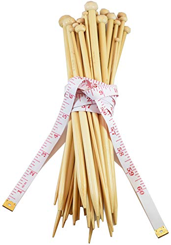 36 Pcs Smooth Bamboo Knitting Needles Set by Celley, 18 Sizes US 0 to US 15