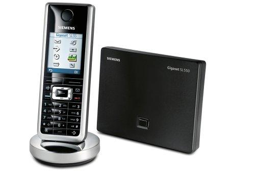 Siemens Gigaset SL550 Schnurloses DECT-Hightech-Telefon mit Farbdisplay, lackschwarz