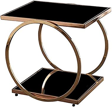 Side Tables, Modern Simple Tea Coffee Table, for Living Room Or Bedroom, Tempered Glass and Metal Frame, Easy to Clean(Color: