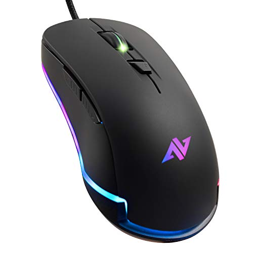 ABKONCORE AM8 Gaming Mouse with 4Dpi Levels (800, 1600, 2400, 3200), Programmable Buttons, Wired Ergonomic USB Computer Mouse for Gamer, Laptop, Chromebook, Mac (AM8)