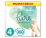 Pampers Pure Protection Windeln, Größe 4, 160 Windeln, 9-14 kg, Monatsbox