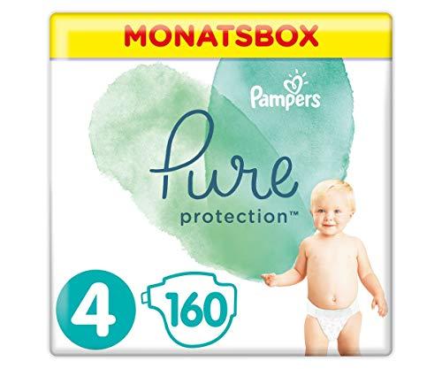 Pampers Größe 4 Pure Protection Baby Windeln, 160 Stück, MONATSBOX, Mit Premium-Baumwolle Und Pflanzenbasierten Materialien (9-14 kg)