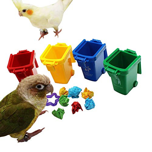 QBLEEV Conure Toys, Color Sorting Bin Bird Toys, Teaching Tool Box Parrot Toys, Trick Prop Training Education Interactive Toys for Cockatiel Quaker Lovebirds